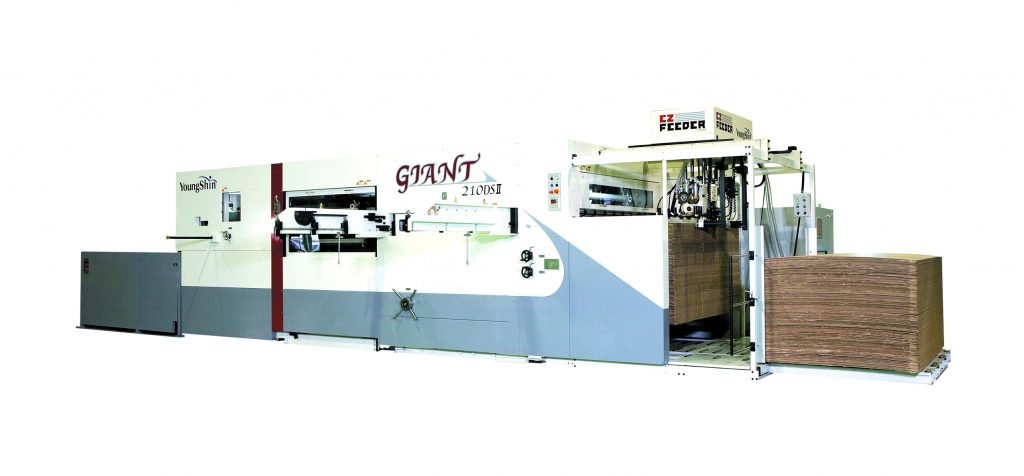 The Young Shin Giant series of Semi-Automatic Diecutters , are the most flexible and durable range available in the world, with a range of sizes to suit everybodys needs. All machines come with the following options: Triple action stripping section Grip edge removal device Heating systems for easier cuttingBatch or stack delivery Cutting plate air float removal device (Standard on 210 and 250 models) Diecutting Section Chase turn-over for easy order change. Knuckle system for maximum cutting pressures. Center line system for quick order change. Soft plate system available. Stripping Section Center line system for quick set ups. New style upper stripping frame for quick order change. Triple action stripiing (upper, middle and bottom). Grip Edge Removal Device (option) Full stripping achieved with grip edge removal device. Discharging grip edge by auto conveyor. Delivery Section (option) Automatic counter and tab inserter can ensure high efficiency. Non-stop delivery available. Perfect stack achieved with side joggers.